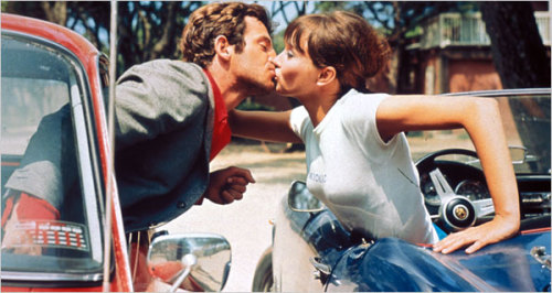 Jean Paul Belmondo and Anna Karina in Pierrot le fou by Jean-Luc Godard.