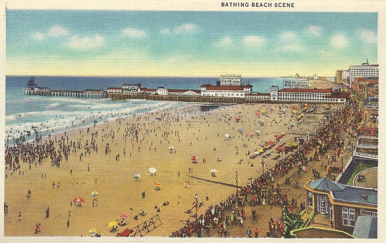 Bathing beach scene