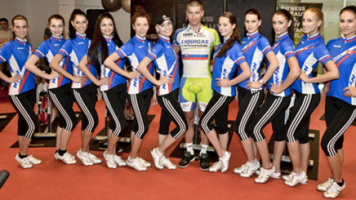 inrng:  Peter Sagan trains Slovakian candidates for the 2012 Miss World Universe contest. The Liquigas-Cannondale rider showed no mercy during a 30 minute training session. Some abandoned the spinning session, one was struck with cramp and needed help from the gym staff. Only one made it to the end of the class. 21 year old Soňa Kiszlingová from Bratislava received a bouquet of flowers from Peter Sagan.   Aw yeah. Just the way Peter likes it- surrounded by girls. I'm a bit surprised he didn't ask the winner to marry him on the spot… Also. Let's take a moment to appreciate that butt as well.