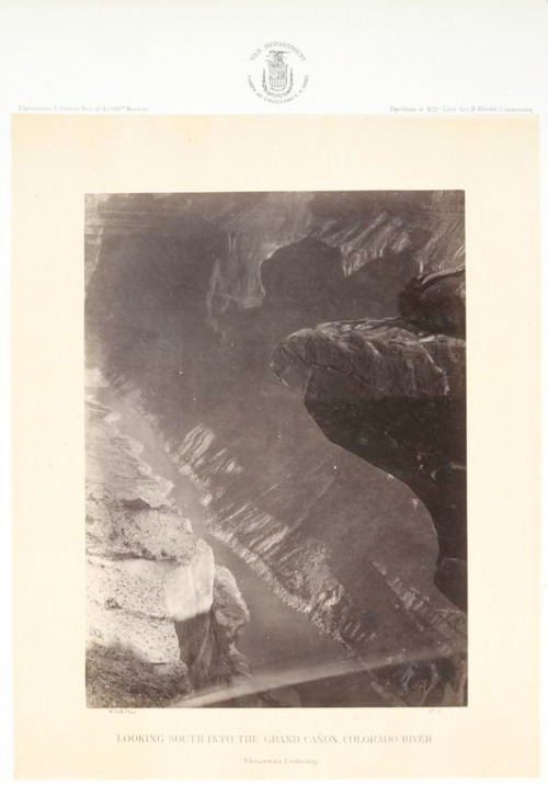 No. 9. Looking south into the Grand Canon, Colorado River, Sheavwitz [Shivwits] Crossing.. Bell, William — Photographer. 1871-1873Source: Photographs showing landscapes, geological and other features of portions of the western territory of the United States, obtained in connection with geographical and geological explorations and surveys west of the 100th meridian,…1871, 1872 and 1873. / T.H. O'Sullivan and W. Bell. (more info)