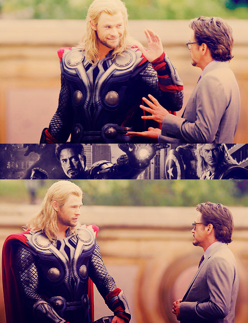 Iron Man & Thor on set.
