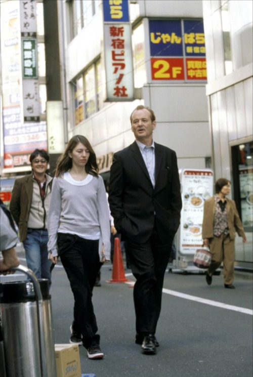 Sofia Coppola and Bill Murray on-set of Lost in Translation (2003)