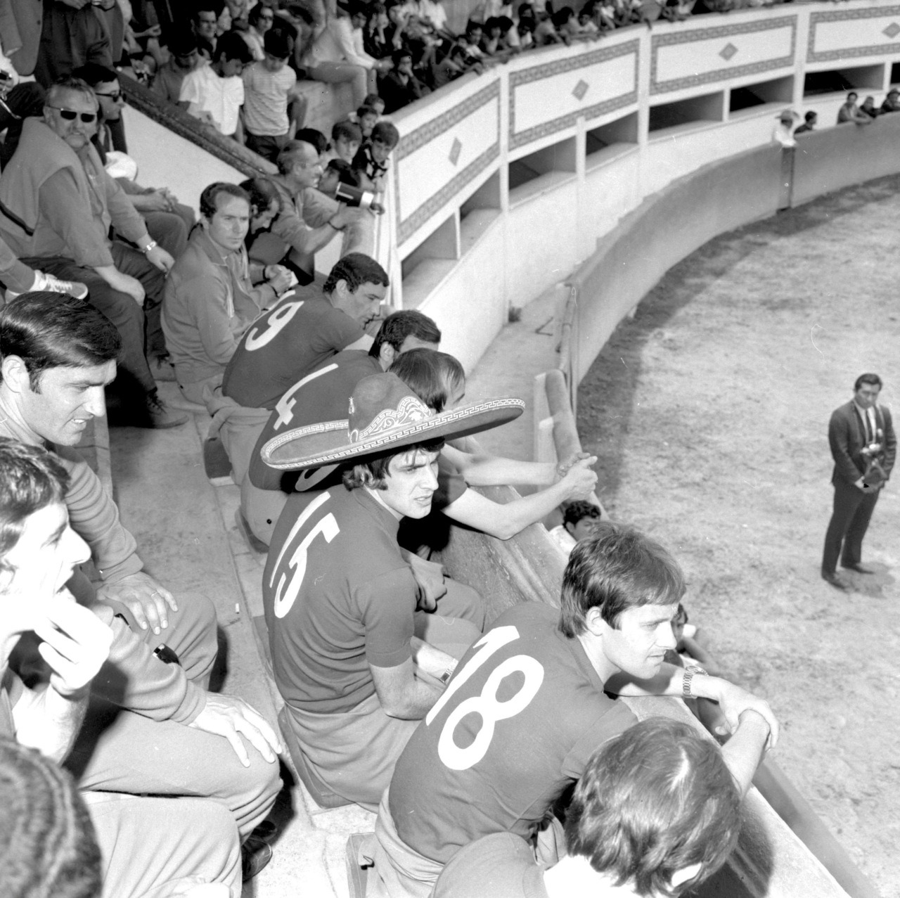 Gli Azzurri at a bullfight in Mexico, 1970.