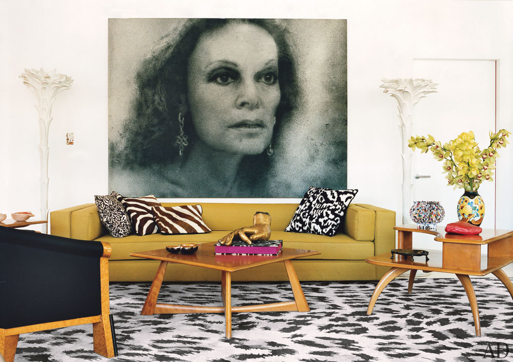 The living area of Diane von Furstenberg's live/work space, perched atop her Meatpacking District corporate headquarters. Click here to see the full tour of her New York City home.  Photo: François Halard