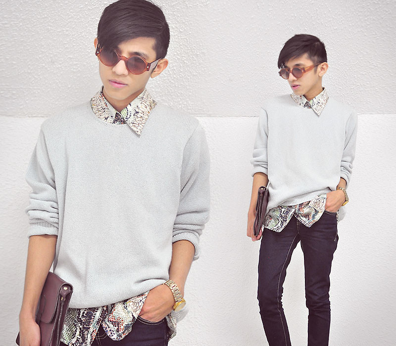 lookbookdotnu:  Powder Blue and SnakeSkin (by Mc kenneth Licon)