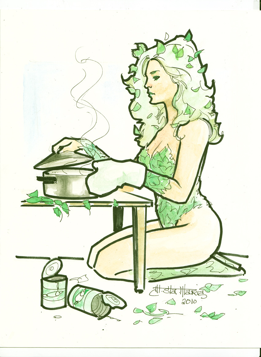 powerdrain:  Poison Ivy_cooking by ~mikitot