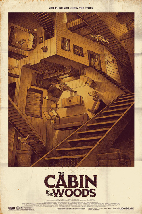 We're really into this Escher-esque Cabin in the Woods poster from Mondo and The Alamo Drafthouse. What do you guys think — and are you excited for the movie?