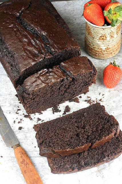Chocolate Cake -Recipe 1- Ingredients 1/2 cup unsalted butter 1 cup brown sugar, packed 1/2 cup granulated sugar 1 egg 1 cup buttermilk 1 tsp vanilla extract 1 1/2 cup flour 3/4 cup cocoa powder 1/4 tsp baking soda 1/2 tsp baking powder pinch of salt Instructions Preheat oven to 325 degrees. Grease or line loaf pan. In a large bowl, cream butter and sugar. Add egg and beat well. Mix in vanilla and buttermilk. Sift flour, cocoa, baking soda, baking powder, and salt directly into wet mixture. Stir until well mixed. Pour batter into loaf pan. Bake for 60 minutes, until a tester comes out clean. Let cool. Serve with powdered sugar dusted on top or with whipped cream.  -Recipe 2- Ingredients 3/4 cup dark brown sugar 1 cup cocoa powder 1 1/2 cup flour 3/4 cup granulated sugar 1 1/2 tsp baking soda 3/4 tsp baking powder 1 tsp salt 2 eggs 1 egg yolk 3/4 cup buttermilk 1/2 cup vegetable oil 1 tsp vanilla 1 tsp espresso powder 8 oz semisweet/bittersweet chocolate chunks Instructions Preheat oven to 350 degrees. Mix brown sugar, cocoa, flour, granulated sugar, baking soda, baking powder, salt, and espresso powder.  In a separate bowl, whisk eggs and egg yolk. Add buttermilk, vegetable oil, and vanilla. Turn mixer to low and pour wet mixture into dry mixture, mixing until just combined. Stir in chocolate chunks with a wooden spoon. Pour batter into loaf pan. Bake for 60 minutes, or until test comes out clean.  —