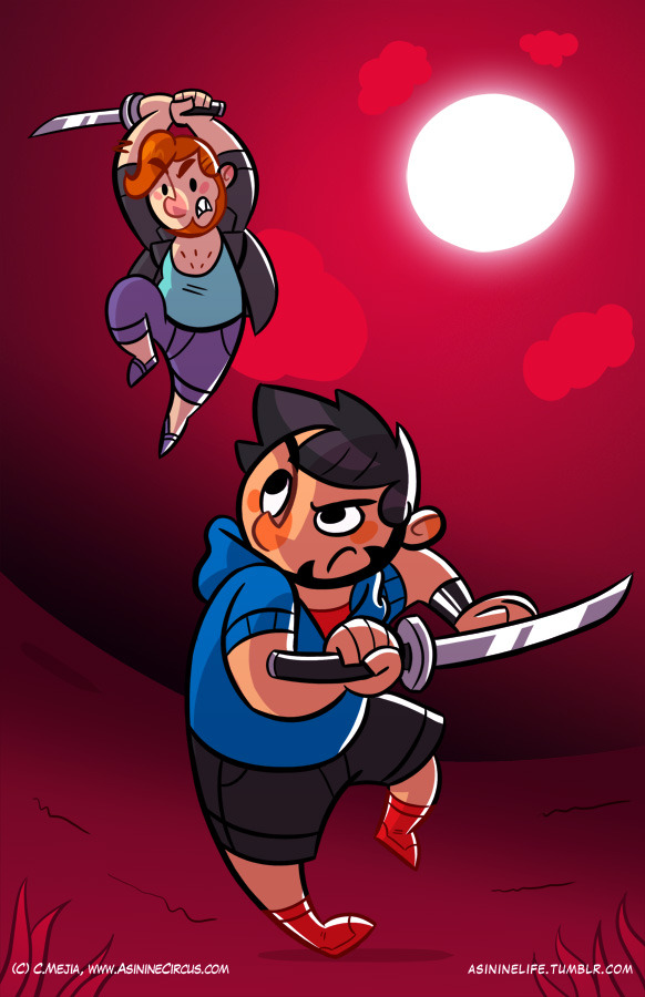Another Carlos VS. Tobias, now with added blades!This is my attempt at making some sort of background, I will concentrate and work harder on them because I know I have been very slack with settings and scenery.