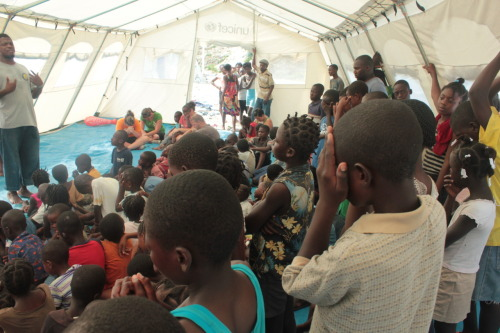"""Pic of the Day"" #20 Praying at the end of the children's crusade! They had a great response to God. The angles were definitely singing!"