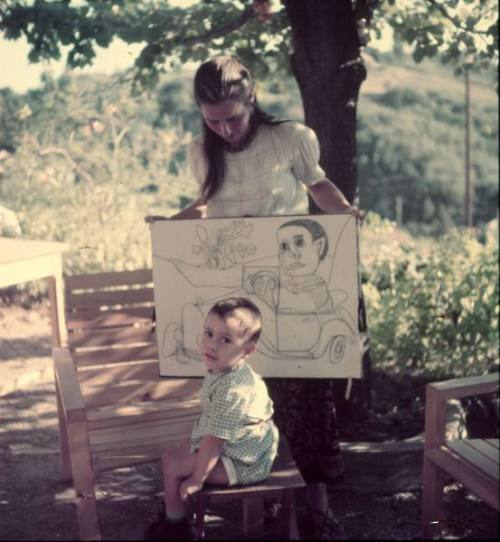 velveteen:  Françoise Gilot, Picasso's mistress, with their son, Claude Picasso; photographed by Gjon Mili in Vallauris, France 1949