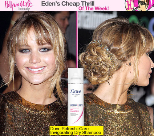"Get Jennifer Lawrence's Exact Hairstyle From 'The Hunger Games' Premiere Find out how Jennifer's hairstylist created her look for the LA premiere and learn his inexpensive trick for making pins stay put in an updo! Dove celebrity hairstylist Mark Townsend created Jennifer Lawrence's romantic updo for The Hunger Games premiere. He tells YOU how to recreate the look at home, what products he used and a very special trick that will cost you just $4.49!  ""I started by applying a large dollop of Dove Style+Care Nourishing Curls Whipped Cream Mousse to Jennifer's damp hair and blow dried with a large round brush. Next, I took 3-inch sections of hair and sprayed Dove Style+Care Thermal Replenishment Spray on the hair before wrapping it around a 1-inch curling iron. Then, I sprayed Sally Hershberger Genius Spray Wax all over to give her hair second-day texture. I took two Jennifer Behr headbands and braided them into her hair, and then pinned the braid into a bun. I always spray Dove Refresh+Care Invigorating Dry Shampoo on my Bobby pins for extra hold. I finished by spraying Dove Style+Care Extra Hold Hairspray all over to keep every hair in place all night."" What a fantastic trick! Who would have thought that spraying a dry shampoo onto bobby pins would help them to stay put in a hairstyle?"