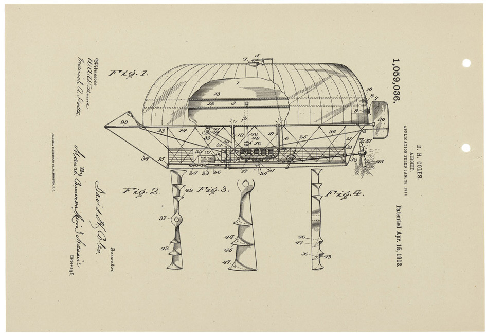 Patent Drawing for a Flying Machine, 04/15/1913    On April 15, 1913, The Patent Office granted David Hamilton Coles a patent for an improvement in airships. In his application, Coles meticulously described his new designs for various parts of the airship, such as, the valves, propellers, and engine. [note: image rotated 90° for the full airship effect]