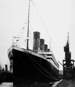Titanic dressed in flags for Good Friday at Southampton, England.