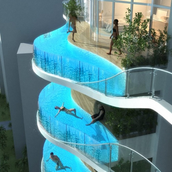 Conceptual swimming pool balconies for the Aquaria Mumbai apartment towers.