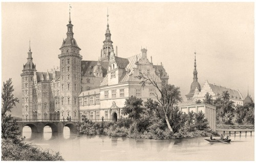 oldbookillustrations:  Frederiksborg Palace A. Mayer, from Voyages en Scandinavie, en Laponie, au Spitzberg et aux Feröe (Travels to Scandinavia, Lapland, Spitsbergen and the Faroe Islands), under the direction of Paul Gaimard, volume of plates, Paris, 1852. (Source: archive.org)