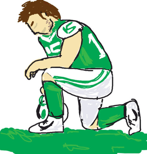 "siphotos:  An SI reader illustrated ""Tebowing"" for the popular game Draw Something. SI asked readers to send in screen shots of their sports-related drawings and we'd like to see yours. Please send to siwriters@simail.com. (Illustration by Fintan Hurl) GALLERY: Draw Something Illustrations by SI Readers"
