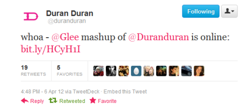 struckingperfectklaine:  … and now Duran Duran have tweeted about the mashup :)
