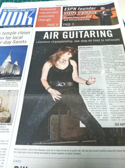 Looks like the Lawrence Air Guitar Championship 2012 made the front page of the KU newspaper today with a big picture of Sonic Bitch! Congrats!