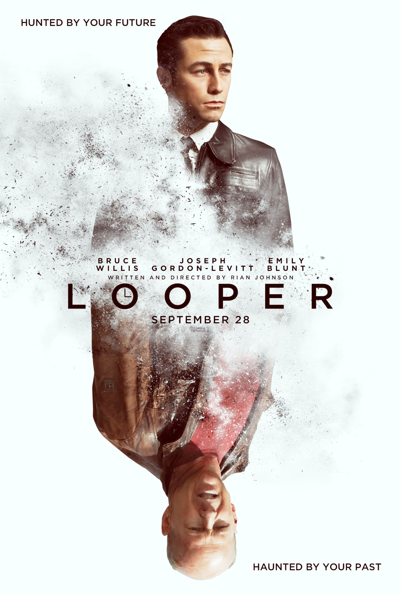 loopermovie:  Teaser poster (via our friends at /Film)  I try not to be one for unseemly displays of immature movie fan exhortations, but oh holy shit do I feel excited as peachfuzz for this movie and I do so pants-wettingly wish that its release date was not so far away. Also: I love this one-sheet.