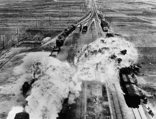 The U.S. Air Force attacking railroads south of Wonsan on the eastern coast of North Korea; Korean war: (25 June 1950 – armistice signed 27 July 1953)