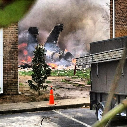 An F-18 fighter jet crashed into a Virginia Beach neighborhood.  Both pilots ejected safely, and there are no reports of any serious injuries on the ground.  Instagram photo by @theekidicarus.