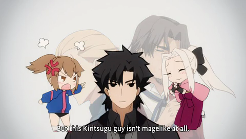 Kiritsugu's face  SO ADORABLE