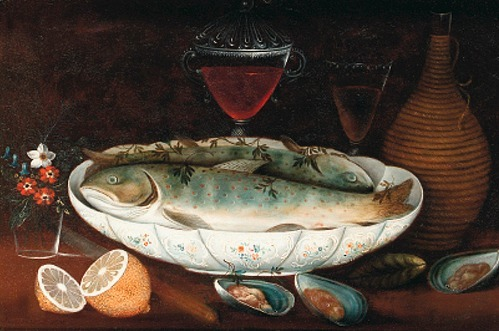 Johann Seitz Salmon in a Porcelain Bowl 1801