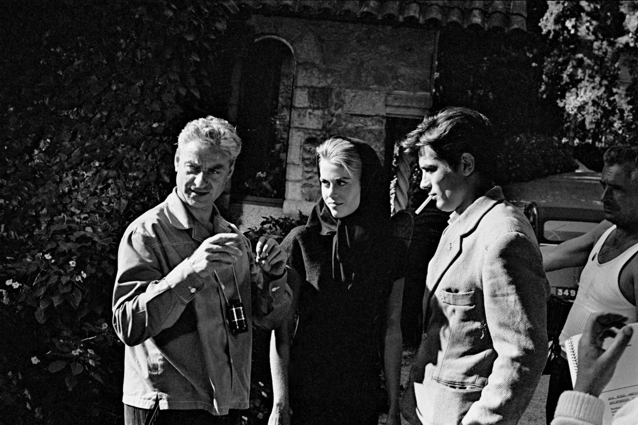 On the set of Les félins; with Rene Clement and Jane Fonda.