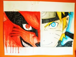18x24 Naruto & Kurama! Watercolor'd! I love manga :)