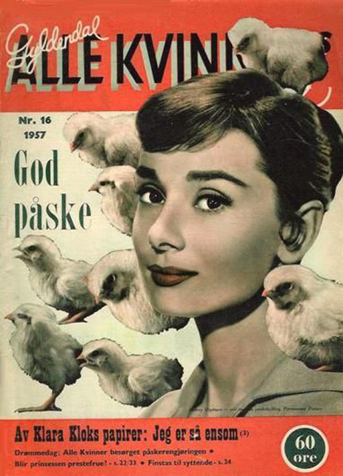 Audrey Hepburn on a Norwegian magazine cover, 1957