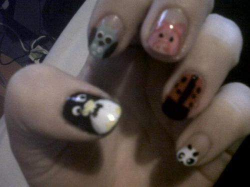 My attempt at animal nails - including penguin, owl, pig, ladybug and panda. Pic quality not great - apologies.