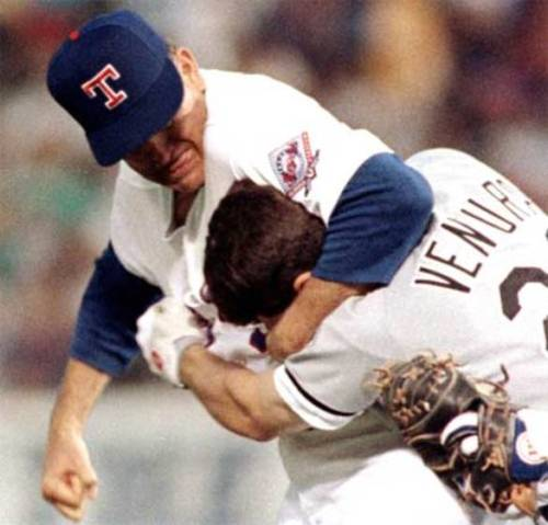 pos-sim-pa-ble:  Nolan Ryan and Robin Ventura should have reenacted this for Opening Day.