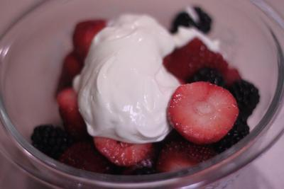 Mixed Berries with crème fraiche