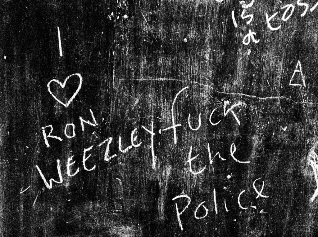 97 of 366  I love Ron Weezley. Fuck the Police  Two statements I honestly never expected to see on the same blackboard.