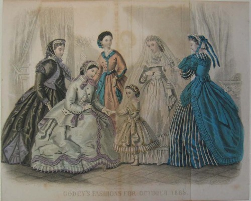 Dresses for women and girls, 1865 US, Godey's Lady's Book