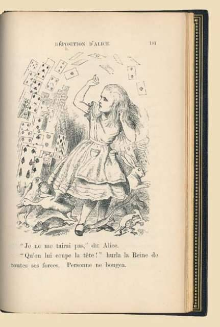 "Aventures d'Alice au Pays des Merveilles. Traduit de l'Anglais par Henri Bué. Lewis Carroll.  London, Macmillan and Co., 1869.  First French edition. Contemporary full-grained dark blue morocco, spine ribbed and gilt, with gilt triple fillet borders on sides with gilt medallion portrait of the White Rabbit in centre on front cover, and of the Cheshire Cat on back cover, richly gilt inner borders, gilt edges (NOULHAC), and with the original publisher's gilt blue cloth preserved, including the spine. With 42 wood-engraved plates and illustrations by John Tenniel. ______________________________________________""First came ten soldiers carrying clubs; these were all shaped like the three gardeners, oblong and flat, with their hands and feet at the corners: next the ten courtiers; these were ornamented all over with diamonds, and walked two and two, as the soldiers did. After these came the royal children; there were ten of them, and the little dears came jumping merrily along hand in hand, in couples: they were all ornamented with hearts. Next came the guests, mostly Kings and Queens, and among them Alice recognised the White Rabbit: it was talking in a hurried nervous manner, smiling at everything that was said, and went by without noticing her. Then followed the Knave of Hearts, carrying the King's crown on a crimson velvet cushion; and, last of all this grand procession, came THE KING AND QUEEN OF HEARTS."