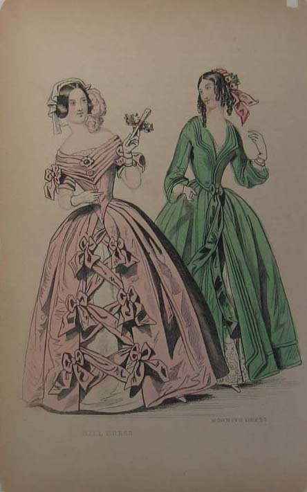 Ballgown and morning dress, 1860, source not given