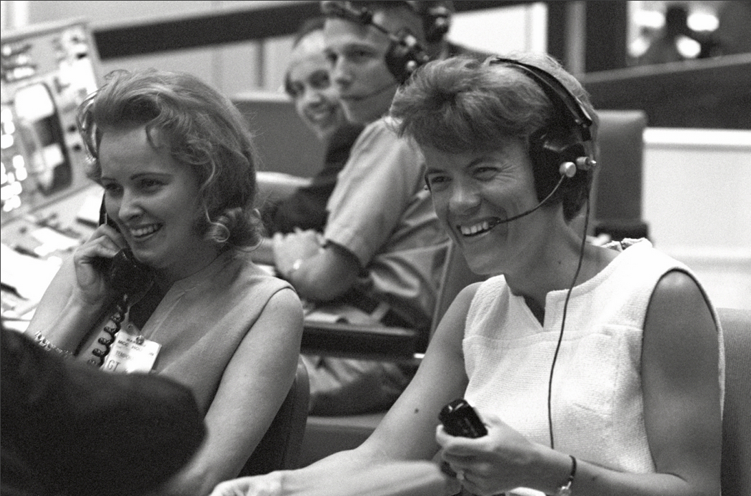 The wives of Gemini 4 astronauts at Mission Control in Houston, taking the opportunity to speak to their husbands as they passed over the United States.NASA's landmark Gemini program — which allowed the U.S. to overcome the advantage won by the Soviets in the late 1950's — marks its 50th anniversary this month.See more awesome photos here: http://huff.to/HmdAYt(CREDIT: NASA)