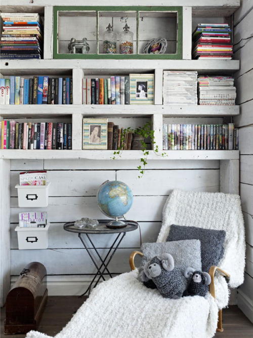 white wooden relax corner (via Rescued Family Villa in Gothenburg | Miss Design)