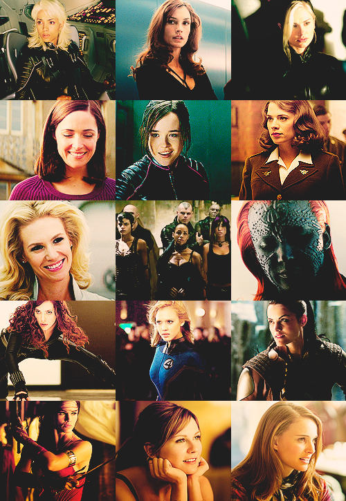 aliascelli:  allofthefeelings:   the ladies of marvel  Somehow, I never manage to put this entire universe together. And whenever someone else does it for me I remember I really need to see all the X-Men movies to have a complete mental set.Then I forget and just watch the good parts version of Iron Man 2 again.  I love everything about this.