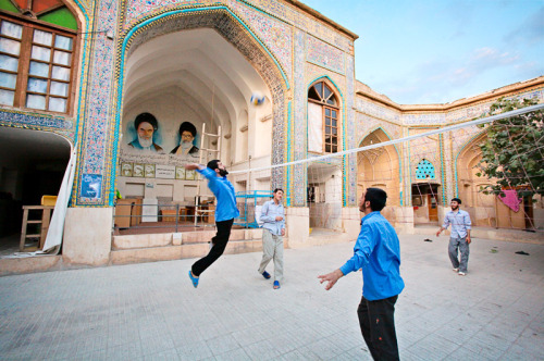 farsizaban:  Students of a Religious School in Iran Playing Volleyball