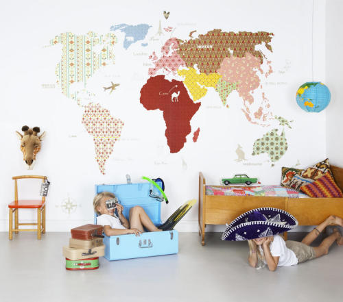 World map wallpaper via Mr. Perswall - such a lovely idea for a nursery or any room, really.  And at only $54.00 (as of today's exchange rate), totally affordable.  Let's face it, they are unlikely to get any comprehensive geography in school, so … Darn kids these days!  -megan