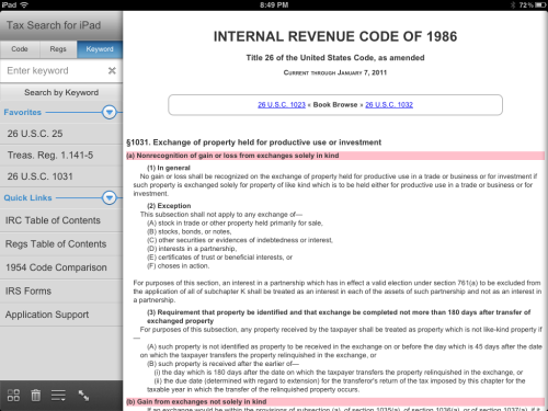 TouchTax: reference all 7,700+ sections of the US tax code on iOS, Android, Kindle Fire, webOS, and BlackBerry. http://touchtax.wordpress.com