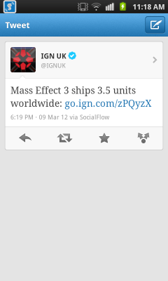 Mass Effect 3 ships 3.5 units worldwide.