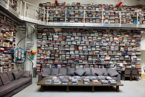 Famous Friday: Karl Lagerfield's library (via theselby)