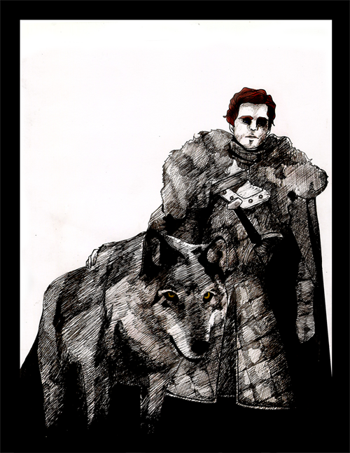 rinception:  The King in the North by ~Silent-My-Voice  Robb and Grey Wind!  Done with pens and india ink.