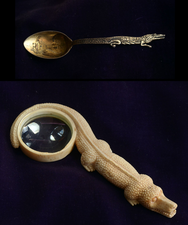 Early 1900s Alligator Louisiana Souvenir Salt Spoon, Sterling (sold)Early 1900s Alligator Magnifying Glass, Carved Bone (sold)