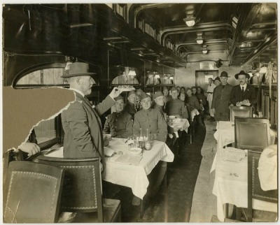 Seder dinner held for servicemen aboard a Pullman car, c.1919, Chicago. Headed to the 'burbs for the weekend to celebrate Passover with the family…Chag Pesach Sameach, everyone!