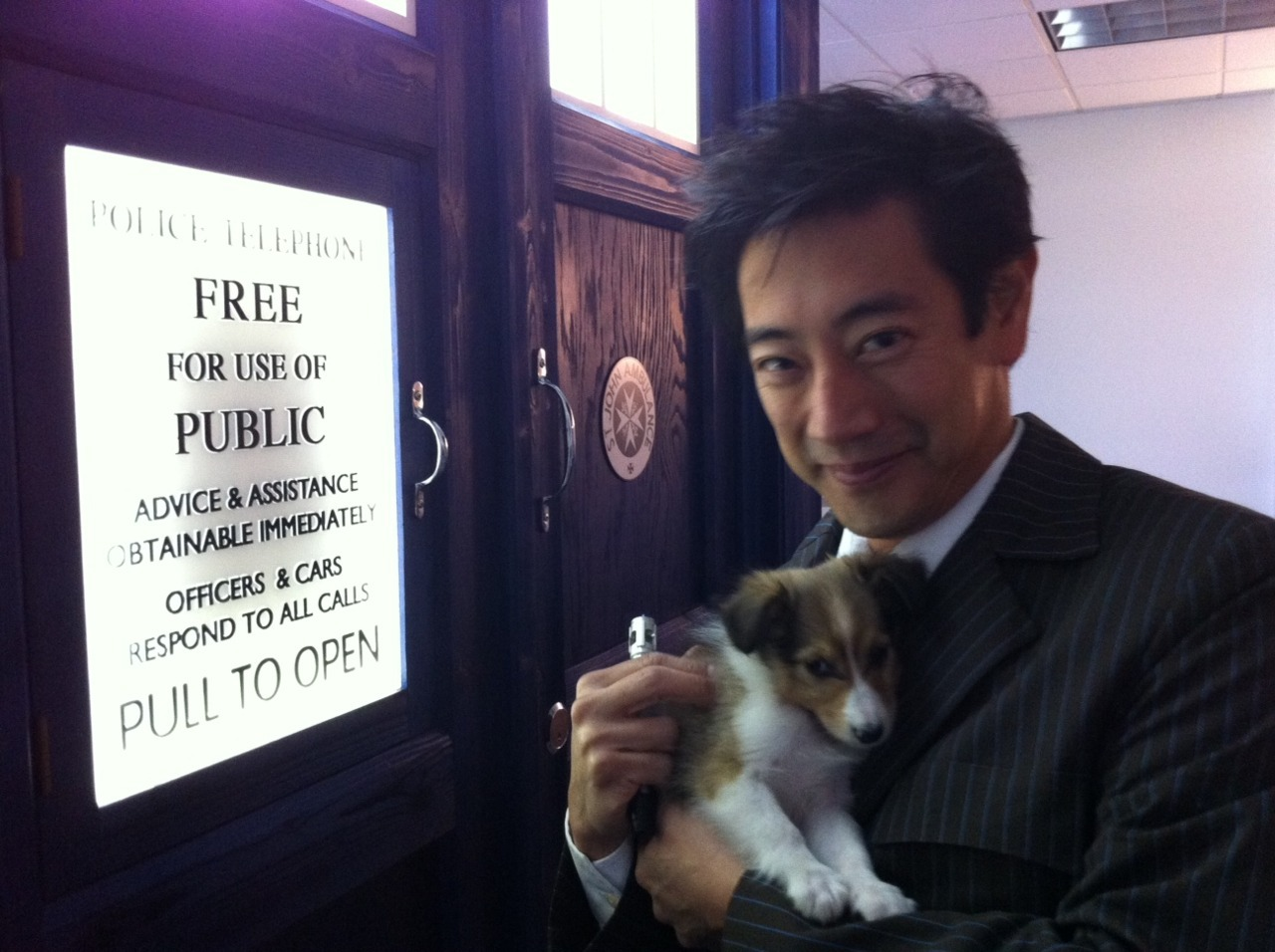 Dear Internet, We present Mythbusters' Grant Imahara, a puppy, a Sonic Screwdriver and a TARDIS. Enjoy! Love and kisses,~QMx